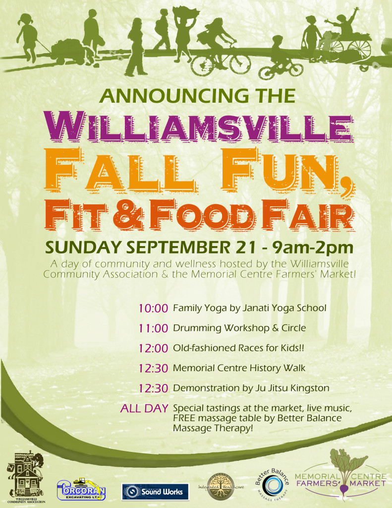 Williamsvill Fall Fun, Fit & Food Fair - Sunday September 21 9am to 2pm at the Memorial Centre